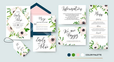 Ilustración de Wedding invite, menu, rsvp, thank you label save the date card Design with white, pink anemone flowers, green leaves greenery foliage bouquet & golden frame. Vector cute rustic delicate chic layout.  - Imagen libre de derechos