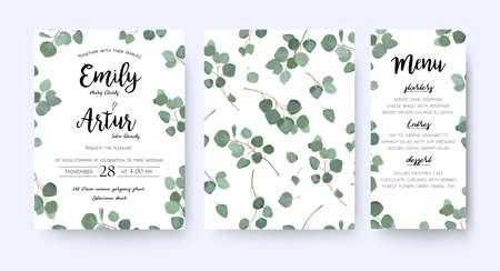 Illustration pour Wedding invite invitation menu card vector floral greenery design: forest Eucalyptus branches. - image libre de droit