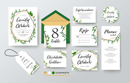 Illustration for Wedding invite, menu, thank you, label, green, foliage, eucalyptus, fern - Royalty Free Image