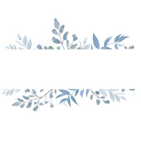 Ilustración de Floral card, postcard invite design with light watercolor hand drawn blue color dusty leaves, fern greenery forest herbs, plants. Tender elegant frame, border copy space. Beauty editable layout. - Imagen libre de derechos