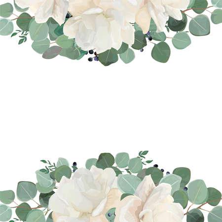 Foto de Floral card design with garden white, creamy peony, Rose flower, silver Eucalyptus thyme green leaves elegant greenery blueberry bouquet border, frame. Vector watercolor style elegant greenery layout. - Imagen libre de derechos