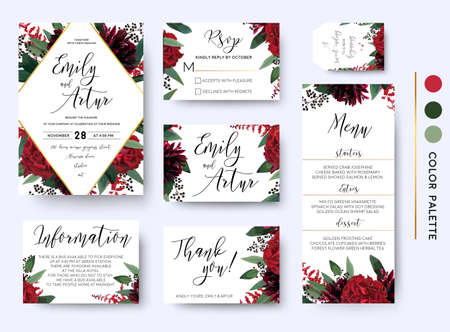Photo pour Wedding invite, invitation save the date rsvp thank you information cards set. Vector watercolor floral bouquet rhombus frame design: red burgundy Rose flower green leaves Eucalyptus branch & berries  - image libre de droit