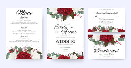 Illustration for Wedding invite, invitation, save the date card with vector floral bouquet frame design. - Royalty Free Image
