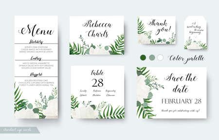 Ilustración de Wedding cards floral design. - Imagen libre de derechos