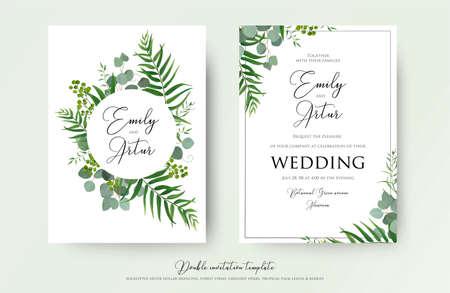 Illustration pour Wedding Invitation, floral invite thank you, RSVP modern card Design: green tropical palm leaf greenery eucalyptus branches decorative wreath - image libre de droit
