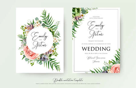 Floral Wedding Invitation elegant invite, thank you, rsvp card vector Design: garden pink, peach Rose flower, white wax, succulent, cactus plant, green Eucalyptus tender greenery, berry trendy bouquet