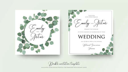 Illustration pour Wedding floral watercolor style double invitation, invitation, save the date card design with cute silver dollar eucalyptus tree branches with greenery leaves. Vector natural elegant rustic art template. - image libre de droit