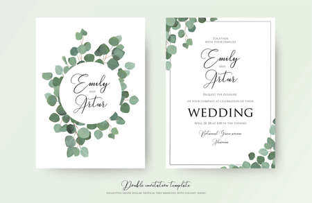 Illustration pour Wedding floral watercolor style double invite, invitation, save the date card design with cute Eucalyptus tree branches with greenery leaves decoration. Vector natural elegant, rustic luxury template - image libre de droit