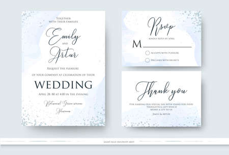 Ilustración de Wedding invite, thank you, rsvp card design set with abstract watercolor style decoration in light tender dusty blue color on white background. Vector trendy modern romantic art layout, template - Imagen libre de derechos