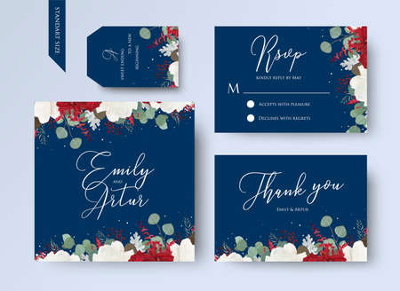 Illustration pour Wedding floral invite, thank you, rsvp card design set with red and white garden rose flowers, seeded eucalyptus branches, leaves, amaranthus frame on navy blue background. Vector trendy layout - image libre de droit