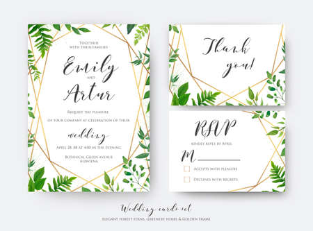 Illustration pour Wedding floral invite, invitation, rsvp, thank you card template set. Vector modern, botanical card design with green forest fern leaves, greenery herbs border with luxury Geometric decoration - image libre de droit
