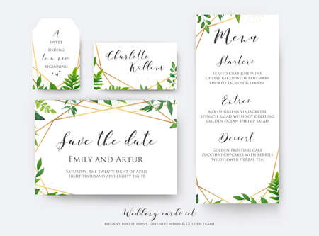 Illustration pour Wedding floral save the date, menu, place card & label template set. Vector modern, botanical card design with green forest fern leaves, greenery herbs border with luxury Geometrical golden decoration  - image libre de droit