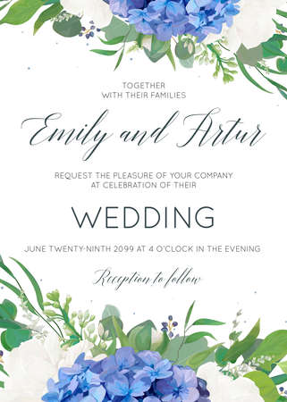 Illustration pour Wedding floral invite, invitation, card design with elegant bouquet of blue hydrangea flowers, white garden roses, green eucalyptus, lilac branches, greenery herbs, leaves, berries. Modern cute layout - image libre de droit