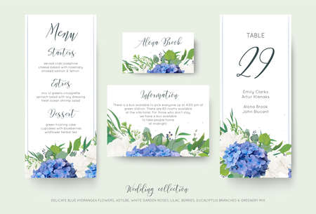 Photo pour Set of wedding information with floral designs. - image libre de droit