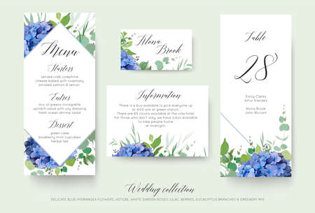 Photo pour Wedding floral personal menu, place, information, table number card design set with elegant blue hydrangea flowers, white garden roses, green eucalyptus, lilac branches, greenery leaves & cute berries - image libre de droit