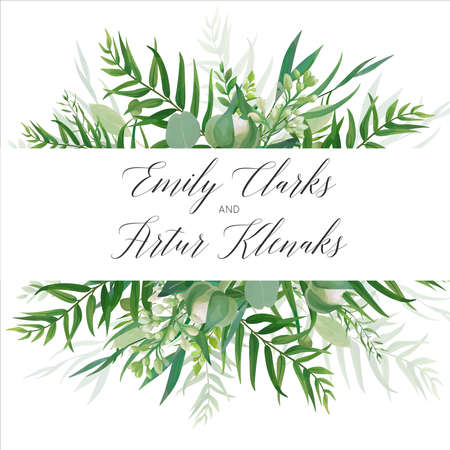 Illustration pour Wedding invitation bwith modern floral design with green tropical forest palm leaves, eucalyptus branches - image libre de droit