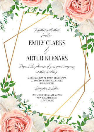 Ilustración de Wedding floral invite, invtation card design. Watercolor blush pink rose, white garden peony flowers blossom, green leaves, greenery plants & golden geometrical frame. Vector romantic, modern template - Imagen libre de derechos
