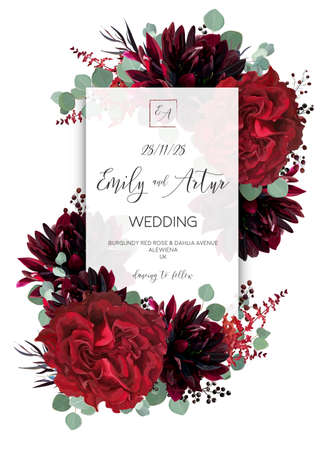Photo pour Wedding vector floral invite, invitation save the date card design. Red rose flower, burgundy dahlia, eucalyptus green border branches & berries boho frame, border. Bohemian stylish layout - image libre de droit