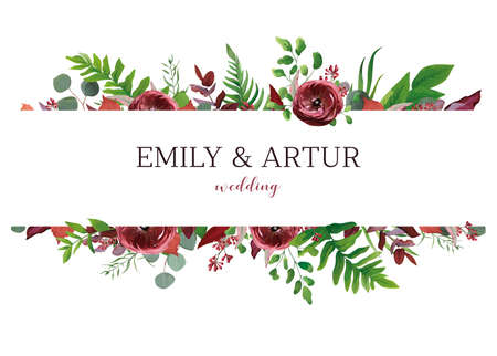 Illustration pour Wedding invite, invitation, save the date card. Vector floral bouquet frame design: red garden Anemone flower, burgundy & silver seeded eucalyptus branches, green fern & fall leaves. Elegant template - image libre de droit