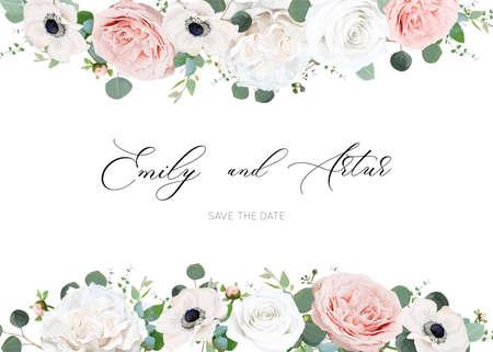 Foto für White ivory and blush peach stylish wedding invite design template - Lizenzfreies Bild