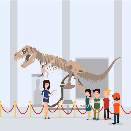 Illustration pour The children went on a tour with the teacher in the museum. Standing in the hall near the dinosaur. - image libre de droit