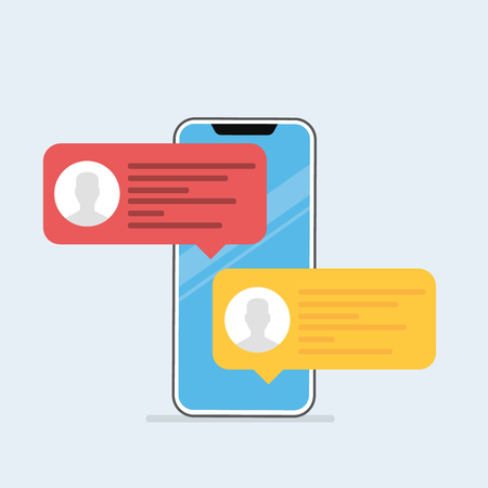 Illustration pour Chat messages notification on smartphone vector illustration, flat cartoon sms bubbles on mobile phone screen. Vector illustration in cartoon style - image libre de droit