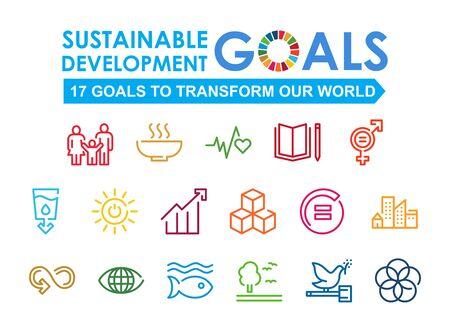 Illustration pour Corporate social responsibility sign. Sustainable Development Goals vector illustration. SDG signs. Pictogram for ad, web, mobile app, promo. UI UX design element. - image libre de droit