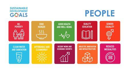 Illustration pour Corporate social responsibility sign. Sustainable Development Goals vector illustration. SDG signs. Pictograms for ad, web, mobile app, promo. UI UX design elements. - image libre de droit