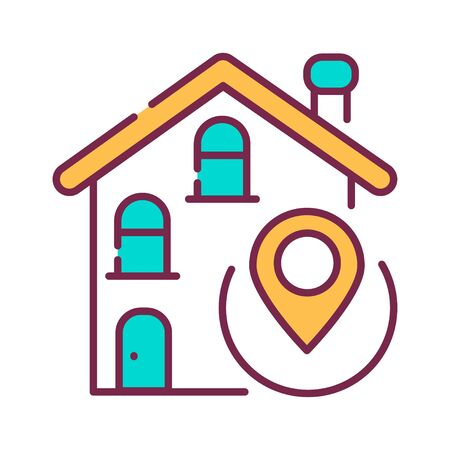 House location color line icon. Place where a particular point or object exists. Pictogram for web page, mobile app, promo. UI UX GUI design element. Editable stroke