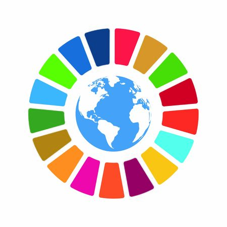 Illustration for Corporate social responsibility vector element. Sustainable Development Goals - United Nations vector illustration. SDG color icon. Pictogram for ad, web, mobile app, promo. UI UX design - Royalty Free Image