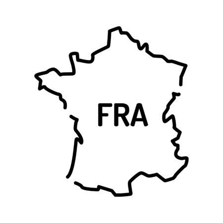 Illustration pour France map black line icon. Border of the country. Pictogram for web page, mobile app, promo. UI UX GUI design element. Editable stroke - image libre de droit