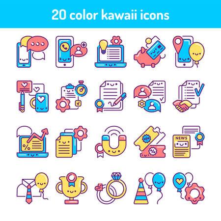 Illustration pour Event management line color icons set. Signs for web page, mobile app, button. Vector isolated element. Editable stroke - image libre de droit