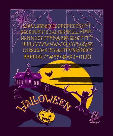 Halloween Font  Hand crafted retro vintage typeface design  Original
