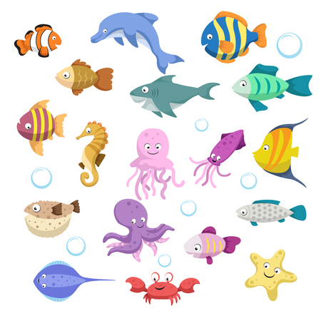 Illustration for Cartoon trendy colorful reef animals big set. Fishes, mammal, crustaceans.Dolphin and shark, octopus, crab, starfish, jellyfish. Tropic reef coral wildlife. - Royalty Free Image