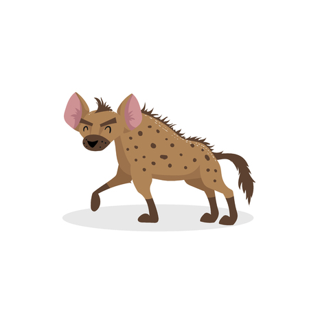 Ilustración de Cartoon trendy design walking hyena. African wildlife animal isolated on white background. Vector  illustration. - Imagen libre de derechos