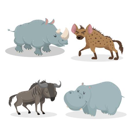 Ilustración de Cartoon trendy style african animals set. Rhino, hyena, wildebeest antelope, hippo. Closed eyes and cheerful mascots. Vector wildlife illustrations. - Imagen libre de derechos