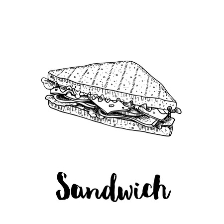 Illustration pour Triangle sandwich with lettuce, ham, cheese and tomato slices. Hand drawn sketch style. Grilled bread. Fast food drawing for restaurant menu and street food package. Vector illustration. - image libre de droit
