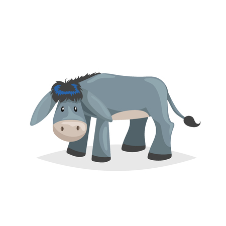 Illustration for Cute cartoon donkey. Sad domestic farm animal. Vector illustration for education or comic needs. Vector drawing isolated on white background. - Royalty Free Image