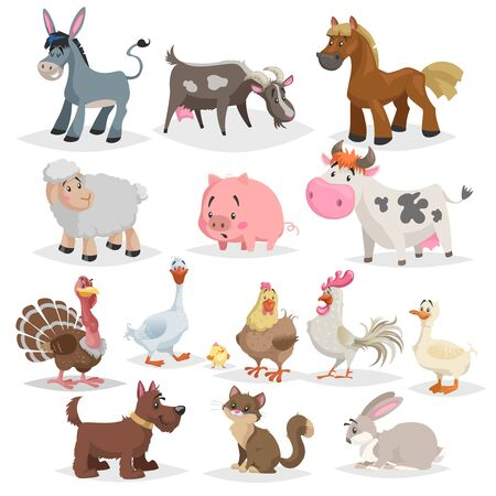 Illustration for Cute farm animals set. Collection of cartoon vector drawings in flat style. Donkey, goat, horse, sheep, pig, cow, turkey, duck, rooster and hen, goose, dog, cat, rabbit. - Royalty Free Image