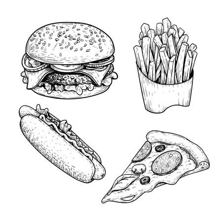Illustration for Fast food sketch set. Hamburger, french fries, hot dog and pepperoni pizza slice. Hand drawn illustrations for restaurant menu in vintage style. Isolated on white background. - Royalty Free Image