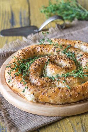 Photo pour Spiral phyllo pie with feta - image libre de droit