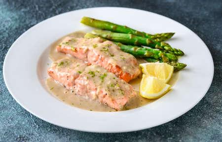 Photo pour Salmon with creamy coconut sauce - image libre de droit