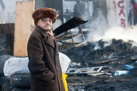 KIEV, UKRAINE - 23 JANUARY 2014: Unknown demonstrators at the Independence square during Ukrainian revolution on January 23, 2014 in Kiev, Ukraine.