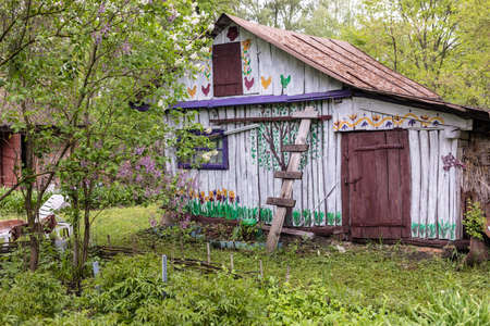 Photo for Old Ukrainian colored home in village. - Royalty Free Image