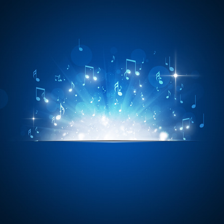 music notes explosion with lights and bokeh blue background