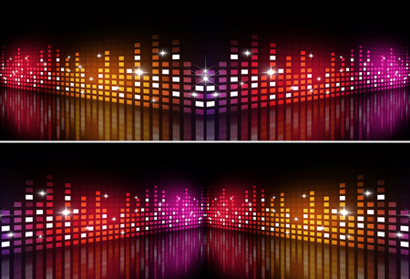 abstract music equalizer multicolor banners for active party events