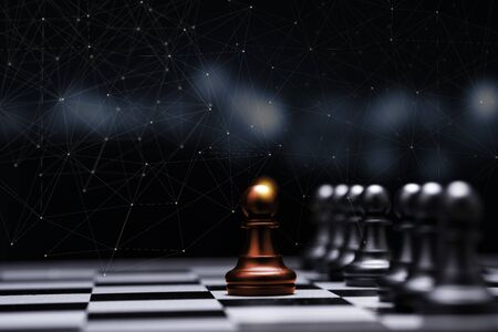 Photo for Red pawn chess stepped out of line to show different thinking ideas and leadership. Business technology change and disruption for new normal concept. - Royalty Free Image