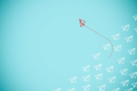 Photo pour Red paper plane out of line with white paper to change disrupt and finding new normal way on blue background. Lift and business creativity new idea to discovery innovation technology. - image libre de droit