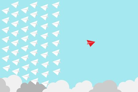 Photo pour Red paper plane out of group with white paper to change disrupt and finding new normal way on blue background. Lift and business creativity new idea to discovery innovation technology. - image libre de droit