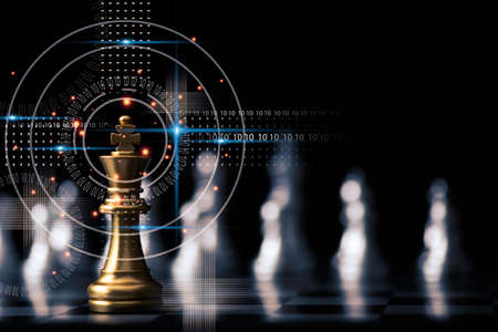 Photo pour Golden king chess stand in front of others chess pieces. Leadership business teamwork and marketing strategy planing concept. - image libre de droit